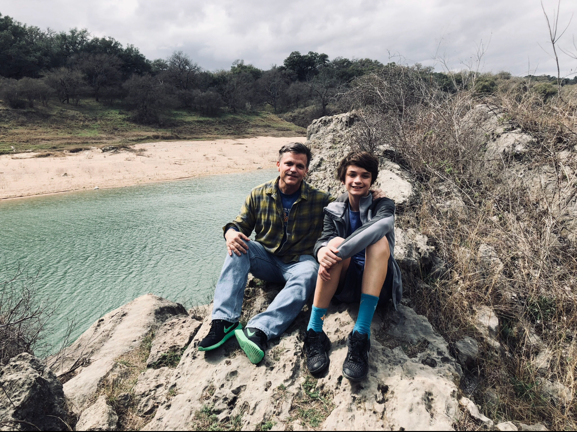 Douglas Brinkley and son Johnny at Pedernales Texas